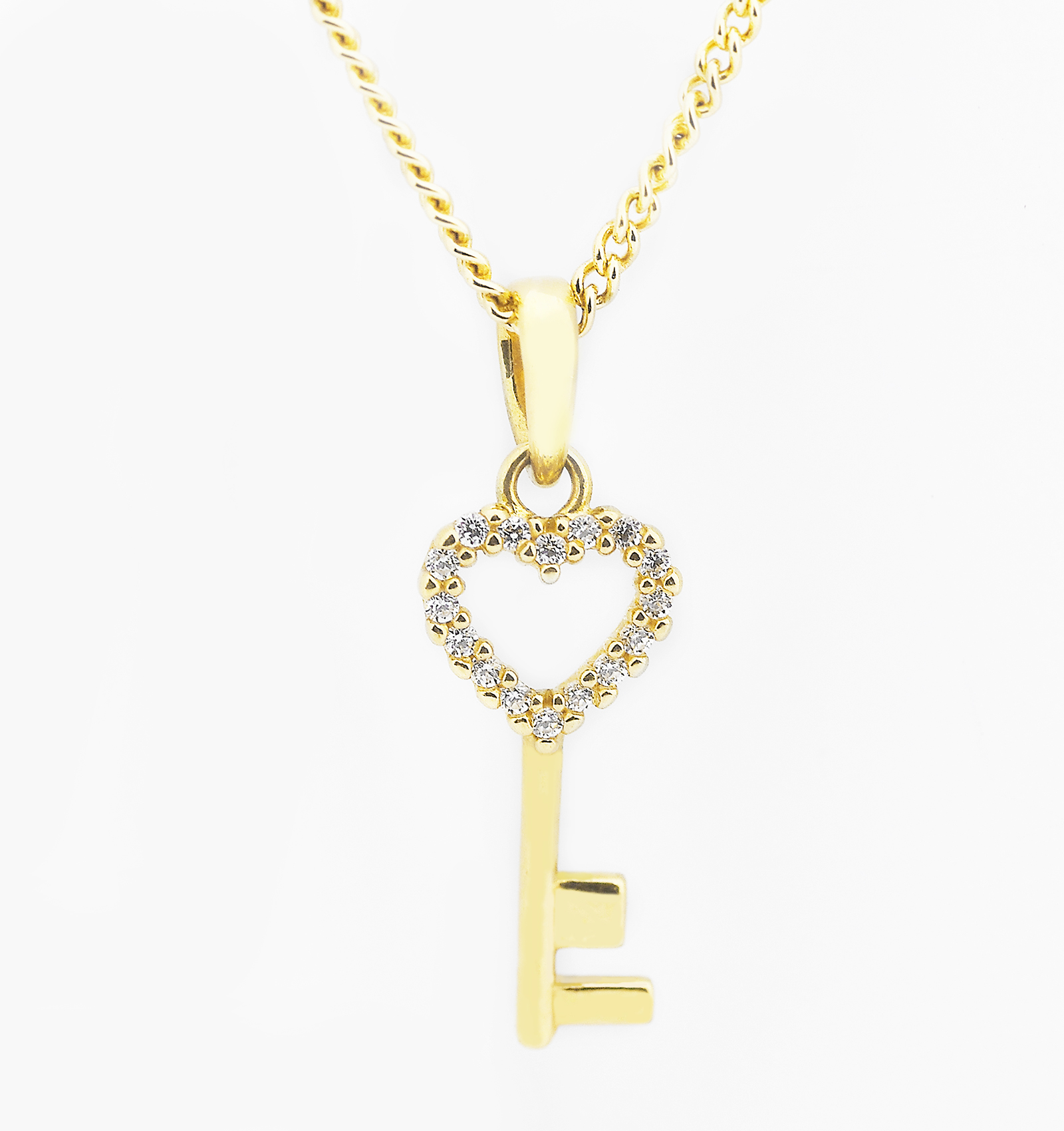 Love heart key pendant necklace in yellow gold diorah jewellers aloadofball Gallery